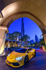 An early morning shoot with this gorgeous babe! Yellow Lamborghini (arielcaguin) Tags: car yellow arc lamborghini sportscar burj burjdubai burjkhalifa thepalacedowntowndubai