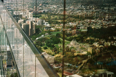DSC_1377 [ps] - Memo (Anyhoo) Tags: park city trees urban distortion reflection green monument glass stone memorial shrine australia melbourne overlay victoria vic glazing parkland shrineofremembrance viewfrom anyhoo viewfromeurekatower photobyanyhoo eurekatowerview