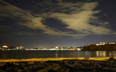 Looking back to Manly (simon60d) Tags: city longexposure sky seascape nature beautiful night clouds plane landscape outdoors lights evening amazing cool alone jet clear trail crisp chill headland fesh