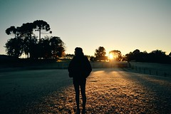 sunday sunrise bab (Leticia Manosso) Tags: winter light brazil woman cold luz sol paran girl sunrise outside countryside frozen moments do farm south curitiba indie flare campo amanhecer nascer magro