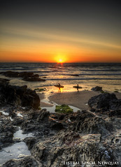 Sunset at Fistral Beach (AreKev) Tags: sunset dusk sky reflections coast coastline sea seaside rocks sand sandy atlanticocean atlantic ocean porthanvystel fistralbeach fistralbay fistral beach bay cove surfers newquay cornwall england uk hdr photomatixpro nikond7100 nikon d7100 sigma 1020mm 1020mmf456exdchsm