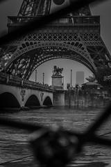 20160606-Paris Flood 2016 01 (gregprodphoto) Tags: bridge blackandwhite paris tour brid iena effeil