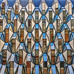 Glamorous Glass (Paul Brouns) Tags: street uk windows england reflection london glass sunshine architecture facade diamonds reflections square paul glamour colorful pattern britain geometry great busy repetition architektur geometrical colourful straight oxfordstreet glamor rhythm architectuur glamorous facet   brouns  paulbrouns paulbrounscom