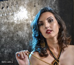 Hair Light - Studio Essay (Maria Luiza S) Tags: blue portrait woman girl necklace retrato mulher pearls moa colar prolas
