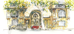 Big buildings, Tiny cars (velt.mathieu) Tags: paris watercolor sketch haussmann croquis