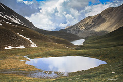 Snow Melt (Safarii) Tags: mountain lake snow france mountains alps cold water weather skyline clouds rural walking french outdoors high altitude lakes lac ridge valley scree melt lacs snowmelt glacial briancon glaciallake largentiere larochederame lacdelascension largentierelebessee