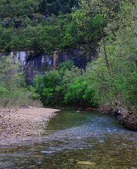 Canoeists  on Buffalo River Approaching First Bluff dowstream from Steel Creek Campground - Northwest Arkansas (danjdavis) Tags: canoes arkansas canoeing bluff canoeists buffalonationalriver buffaloriver steelcreekcampground
