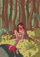 Mowgli (motherkazura) Tags: trees illustration digitalart creepy jungle gore mowgli guts junglebook characterdesign thejunglebook