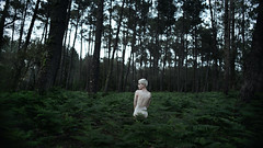 when we were bored we played in the woods (laura zalenga) Tags: girl woman selfportrait forest fern nature landscape portrait green tree body blond pixie laurazalenga tiny calm alone