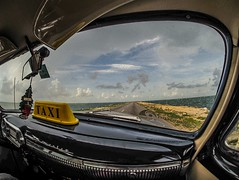 Causeway to Cayo Coco island. Cuba. (CWhatPhotos) Tags: pictures old sea sky sun holiday hot classic chevrolet water car june digital that island four photography day skies foto image artistic time pics taxi transport cuba sunny pic olympus lagoon images clear have photographs chevy coco photograph fotos 1950s vehicle motor 1960s cuban which contain cayo causeway hols fashioned cayococo motorcar 2016 hirds cwhatphotos