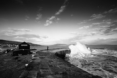 Stormy on the Cobb. (bhp1956) Tags: dorset lymeregis monochrome stormy water landscape seascapeevening seascape thecobb evening harbour waves