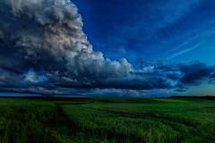 Brake lights (ramerk_de) Tags: clouds evening wheat cereals hdr dramaticscene