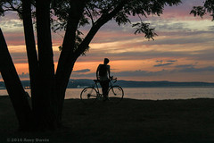 Ask the questions (Amy ::) Tags: hudsonriver bicycle sunset clouds ponder