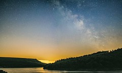 Ladybower Milky Way (andymoore1983) Tags: uk trees stars space derbyshire peakdistrict reservoir galaxy astrophotography milkyway samyang olympusomd