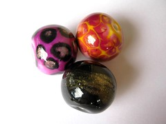 Glossy Galore (DebbieCrothers) Tags: black glass yellow glitter gold beads shiny arty purple handmade glossy polymerclay artsy clay faux bead artisan polymer fauxglass