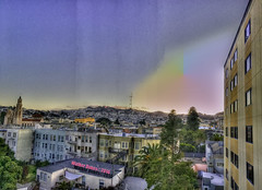 The SF Pink Triangle at Sunset Tonight Panorama (Walker Dukes) Tags: sanfrancisco california pink blue gay red sky urban orange green history yellow photoshop landscape gold rainbow cityscape view purple cyan violet photograph gradient vista sfbayarea missiondistrict sutrotower missiondolores photomatix