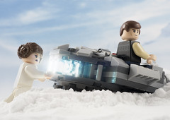 Actually Leia I don't think pushing is helping (tomtommilton) Tags: lego toy toyphotography starwars millenniumfalcon princess leia hansolo empire snow hoth brokendown push funny afol joke movie