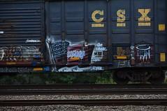 HBAK flag (TheGraffitiHunters) Tags: street blue red white art train graffiti colorful paint flag tracks spray boxcar graff freight benched benching hbak