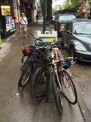 Old sidewalk bike rack in Ballard (Seattle Department of Transportation) Tags: seattle bike parking installation transportation ballard racks crowded onstreet sdot