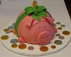 Glcksschwein zum 60.Geburtstag (mschuetrumpf2) Tags: ganache marzipan schwein fondant geburtstagstorte geburtstagskuchen mnzen glcksschwein eierlikrkuchen goldmnzen silbermnzen