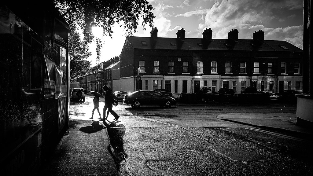 Under the rain dublin ireland black and white street photography giuseppe milo