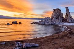 Mono Lake sunset (Rod Heywood) Tags: monolake tufa tufatowers limestone formations sierras lake lakeshore shore highway395 sierranevadamountains orange clouds greatbasin saline ecosystem photographers monolaketufastatenaturalreserve