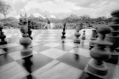 2/52 Through the looking glass (dd66h14) Tags: project52 52project alice wonderland lookingglass throughthelookingglass chess selfportrait surreal forcedperspective blackandwhite leicacamera leicam