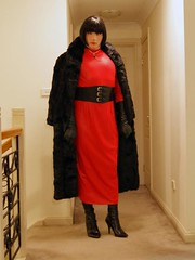 Red Again (4) (Furre Ausse) Tags: red black leather vintage fur belt long dress boots coat wide full gloves mink length