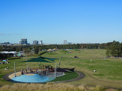 Blaxland Riverside Park, Homebush (DannielleV) Tags: park new city blue sky green grass skyline wales kids river children play view riverside south sydney climbing barbecue frame area olympic homebush parramatta blaxland