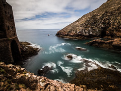 Berlengas 03 (arsamie) Tags: ocean blue sea west green portugal water island daylight rocks europe long exposure fort wave berlengas