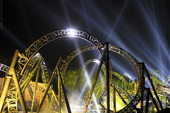 The Smiler (AndWhyNot) Tags: world park night haze track ride 14 towers first resort guinness record theme searchlight rollercoaster inversion alton reveal smiler