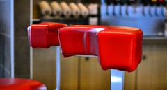 FAST FOOD SEATS DSC_8027 (gnawledge wurker) Tags: blue red abstract restaurant chair seat cushion
