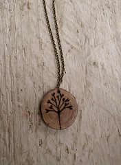 Leaf Stem Pendant Necklace (fizzee*) Tags: wood uk art woodland necklace leaf stem jewelry jewellery etsy pendant accessory scottishartist wwwfionamacneiletsycom
