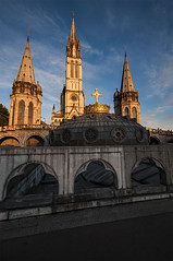 The Sanctuary of Our Lady Of Lourdes 4 (bvi4092) Tags: france building church photoshop gold nikon worship exterior cathedral basilica gothic sigma steeple crown lourdes thesanctuary sigma1020 d300s upperbasilica thesanctuaryofourladyoflourdes