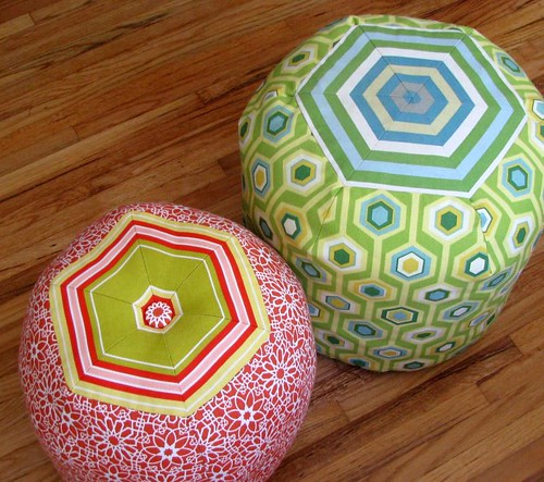 hexagon pouf ottomans