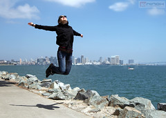 Flying in San Diego - California (Nino H) Tags: ocean california city usa girl skyline america jump san pacific diego