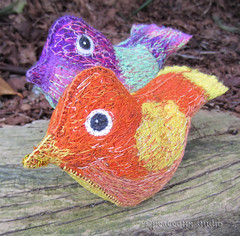 Bird Soft Sculptures (Jo : peaceofpi studio) Tags: bird animal stuffed stitch handmade sewing craft artdoll fiberart textileart softsculpture clothdoll freemotion threadart