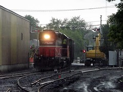 PR3 Switching onto the main line (Jamie 17) Tags: ri railroad train photography photo flickr rail rhodeisland rainy transportation railroads pw flickrphoto pr3 flickraward providenceandworcester providenceworcesterrailroad mygearandme