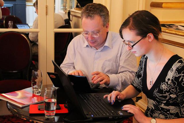 Editors Jonathan Cardy and Gill Dunn at the Wikipedia Ashton Editathon © ROH/2013