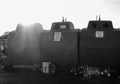 Keen recyclers or Alcoholics..... (PabloTheDonkey) Tags: mono nikon bottles coolpix northernireland nikkor recycle ahoghill s8000
