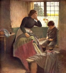 1920 Walter Langley (1852 - 1922) English artist - Mother sewing boy whittling toy boat (oldsailro) Tags: park old boy sea walter summer people sun lake playing english beach water pool girl sunshine youth sailboat race vintage children fun toy boat miniature wooden pond model artist waves sailing ship child time yacht antique sewing group mother boom regatta mast hull 1922 spectators langley watercraft 1920 adolescence keel fashioned whittling 1852
