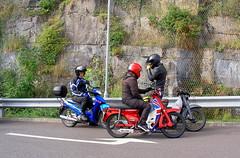 Honda Cub gathering (Lawrence Peregrine-Trousers) Tags: uk england honda cub ride derbyshire c super run motorbike motorcycle 50 70 90 supercub c70 c50 c90 ffffffffff c90clubcouk