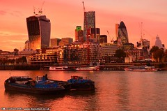 Tidy Thames I/Construction Time Again, London, 2013 (MJ_Conlon) Tags: city pink sunset sky london thames skyline cheese river boats gherkin grater barge clipper walkie talkie