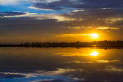 Sunset in the Rice Fields (Anthony Dunn Photography) Tags: california sunset clouds reflections rice fields flooded sacramentovalley
