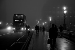 Foggy Bus to Waterloo (A-Lister Photography) Tags: road city uk winter light shadow england people blackandwhite mist cold reflection bus london cars wet westminster weather silhouette horizontal misty fog night reflections dark walking landscape lights couple glow cityscape shadows shine traffic streetlamp pavement walk transport foggy citylife streetphotography dramatic landmark icon headlights walker citylights pedestrians glowing commuting nightlife shiney innercity cinematic iconic walkers atmospheric timeless commuters westminsterbridge reallife cityoflondon londonbus redbus realpeople londonicon wetreflections icycold cityworkers coldtemperature iconiclondon mistylandscape adamlister nikond5100 alisterphotography