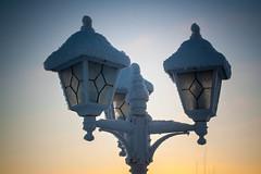Three Frosty Lanterns (k009034) Tags: blue winter sunset sky orange cold glass lamp beautiful canon finland photography eos 350d three frost diamond pole lantern rebelxt beautifulearth vision:mountain=0768 vision:sunset=0547 vision:outdoor=099 vision:clouds=052 vision:sky=0894