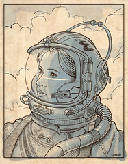 Astronaut - line art (Thomas Shahan 2) Tags: illustration paper graphic lineart inkart