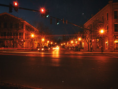 Skaneateles @ Night (Matt Champlin) Tags: old longexposure streets cars night march mainstreet village traffic random olympus trucks lighttrails e300 2007 skaneateles skaneatelesatnight