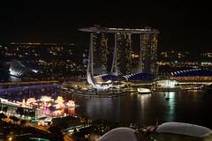 Night View of the Marina Bay Sands hotel in Singapore (UweBKK ( 77 on )) Tags: night marina dark island hotel bay singapore asia view sony southeast alpha sands dslr 77 greatphotographers