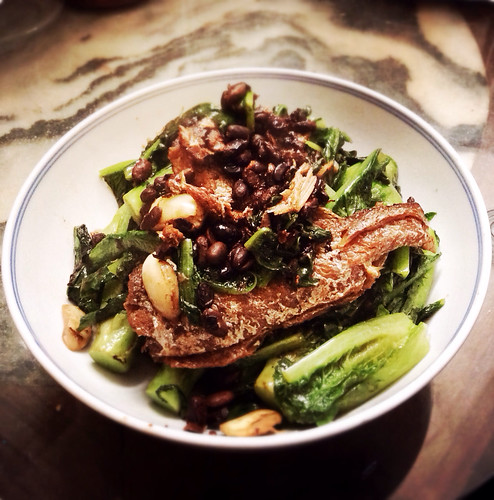 fried dace, black bean, indian lettuce, stir fried, stir fry, recipe
